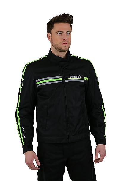 NERVE 15101304107_06 Swift Blouson Moto, Noir/Vert Fluo, Taille : XXL