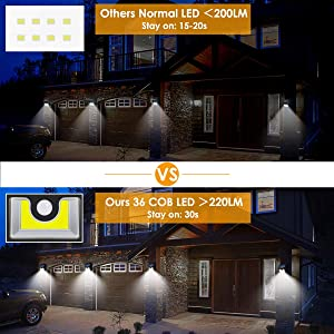 Solar Wall Lights Outdoor Motion Sensor, Super Bright COB 36 LED Wireless Waterproof Solar Porch Lights, Solar Security Light for Porch Patio Yard Deck Stairway Driveway (2 Pack) (Tamaño: 2 Pack-1)