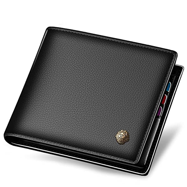 LAORENTOU Men's Wallets, Genuine Cow Leather RFID Blocking Gift Box Packaging Leather Mens Bifold Wallets with Zipper Coin Pocket Casual Men Purse Slim Short Wallet Gift for Men Birthday(Black)