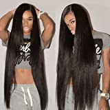 CYNOSURE Brazilian Hair 3 Bundles 8A Virgin Unprocessed Straight Human Hair 18 20 22inches Brazilian Straight Hair (Color: Natural Black, Tamaño: 18/20/22 Inch)
