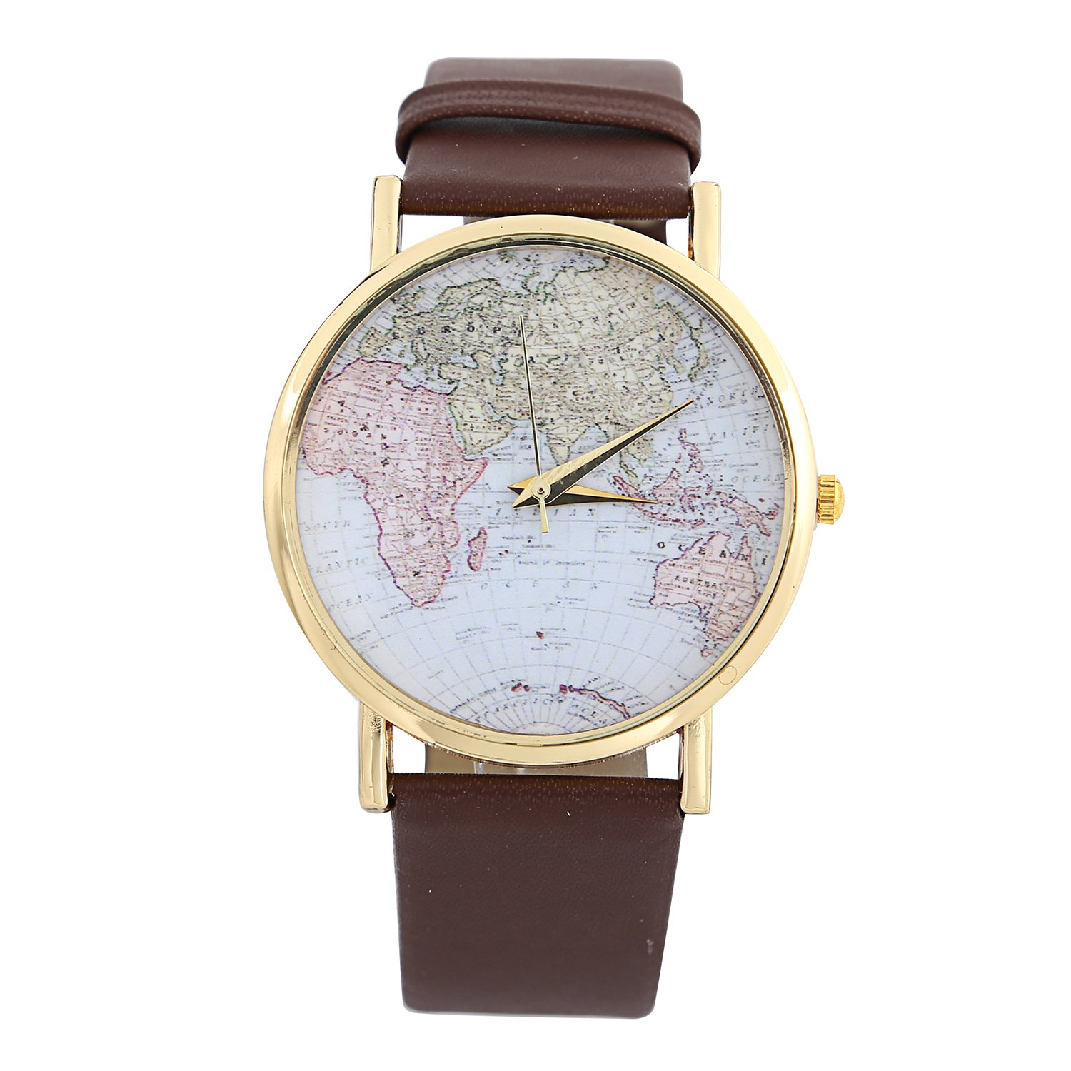 DAYAN Fashion Unisex Men Women Lady Girls World Map Leather Alloy Analog Quartz Wrist Watches Brown relojes mujer fashion unisex fashion women men casual checkers faux leather quartz analog wrist watch relojes hombre 2018