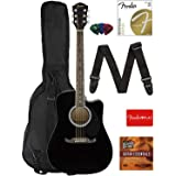 Fender FA-125CE Dreadnought Cutaway Acoustic-Electric Guitar - Black Bundle with Gig Bag, Strap, Strings, Picks, Fender Play Online Lessons, and Austin Bazaar Instructional DVD (Color: Black, Tamaño: FA-125CE)