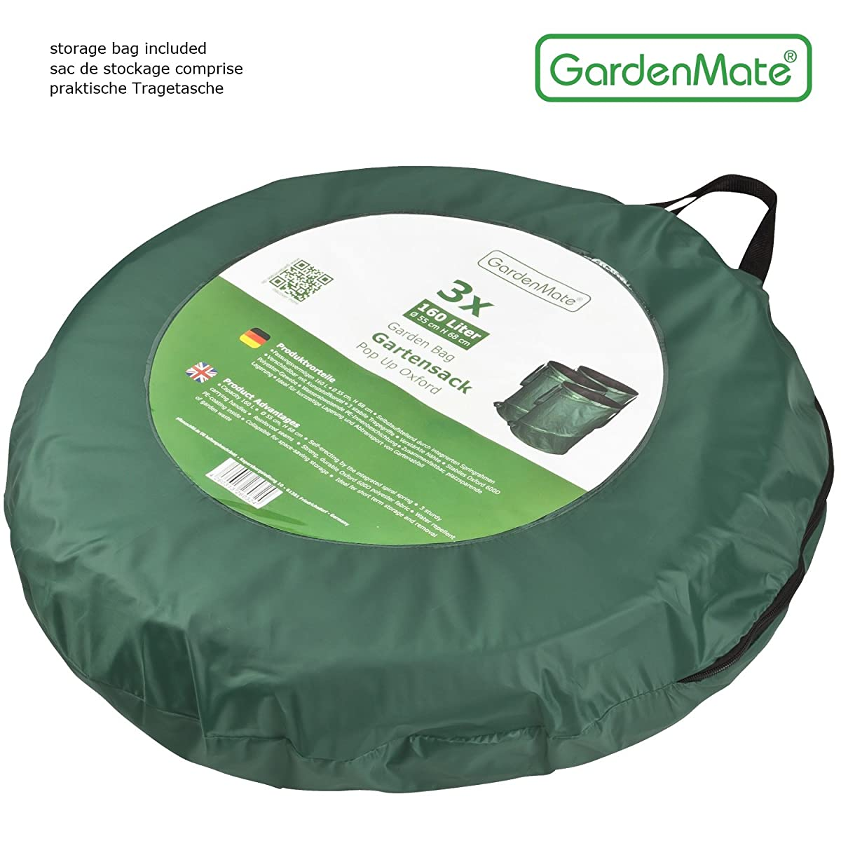 GardenMate 2-Pack 43 Gallons Pop-Up Garden Waste Bags - Collapsible spring bucket - Collapsible Container