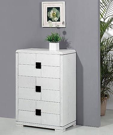 Commode en bois coloris blanc avec 6 tiroirs - Dim : L 76 x H 111 x P 46 cm - PEGANE -