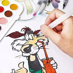 Watercolor Brush Pens, RVOKOMS 6 Water Brush Set for Watercolor Painting, Calligraphy, Water Soluble Pencil, Brush Pens, Markers, Suitable for Kids, A