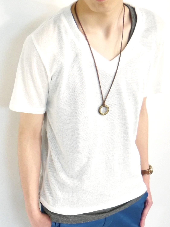 (オークランド) Oakland Vネック 麻混 サマーニット 半袖 カットソー リネン Tシャツ 夏 春 ワードローブ メンズ