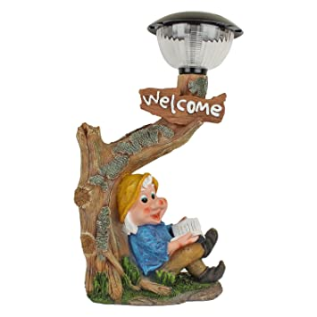 Home Decorative Items Dwarf Sitting Under Tree With Solar Light Garden Decor Gift Items