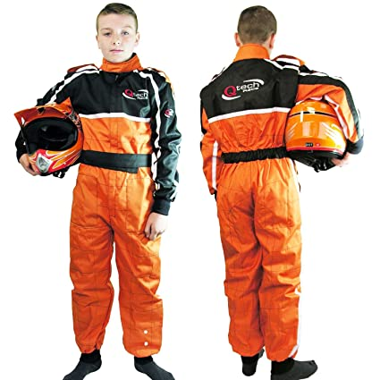 Qtech - Combinaison intégrale de moto-cross/karting/moto - enfant - Orange - M