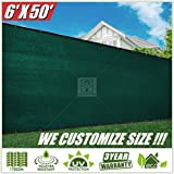 ColourTree 2nd Generation 6' x 50' Green Fence Privacy Screen Windscreen Cover Fabric Shade Tarp Netting Mesh Cloth - Commercial Grade 170 GSM - Heavy Duty - 3 Years Warranty - CUSTOM SIZE AVAILABLE (Color: Green 2nd Generation, Tamaño: 6' x 50')