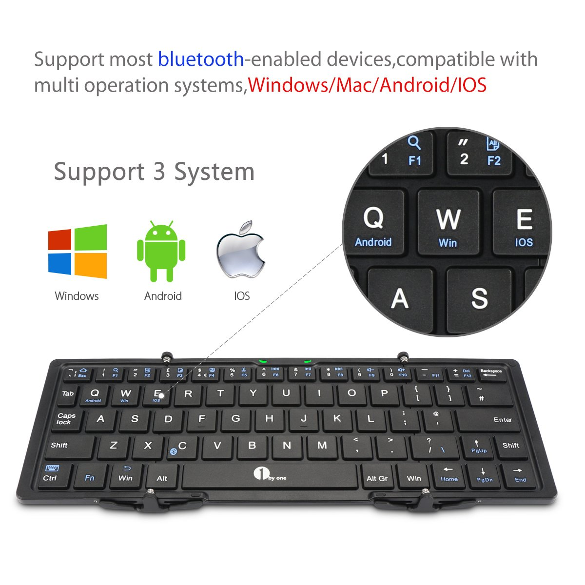 1byone Foldable Bluetooth Keyboard, Portable Bluetooth Keyboard for iOS, Android, Windows, PC, Tablets and Smartphone, Black
