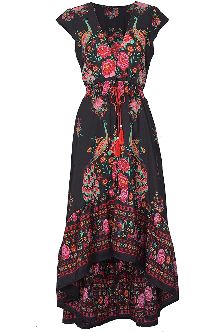 Cupshe Fashion Women's Vintage Printing Plunging High Low Maxi Dress 0