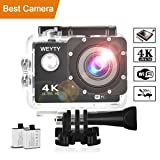Action Camera WeyTy X6S 4K 30m Underwater Camera 16MP Wifi Sport Camera 170°Wide Angle Waterproof Camera With 2x1350 mAh Rechargeable Batteries And Full Accessories Compatible With GoPro