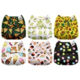 Mama Koala One Size Baby Washable Reusable Pocket Cloth Diapers, 6 Pack with 6 One Size Microfiber Inserts (Yummy) (Color: Yummy, Tamaño: One Size)