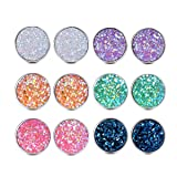 Dolovely Stainless Steel Resin Stud Earrings Set for Girls Women Hypoallergenic Pierced Earrings (Color: 6 Pairs(12mm))