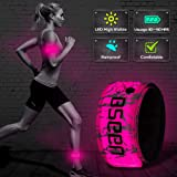 BSEEN LED Armband, 2ed Generation LED Slap Bracelets, Patented Heat Sealed Glow in The Dark Water/Sweat Resistant Glowing Sports Wristbands for Running, Cycling, Hiking, Jogging (Pink-Design II) (Color: Pink-Design II)