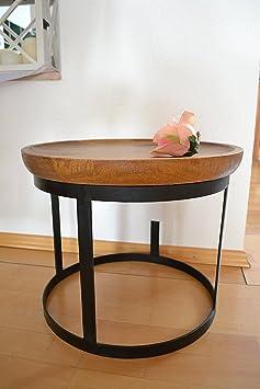 Tisch- Beistelltisch-Couchtisch- sehr stabile schicke Ausfuhrung-Mangoholz-Voll-Holz und Gestell Metall,