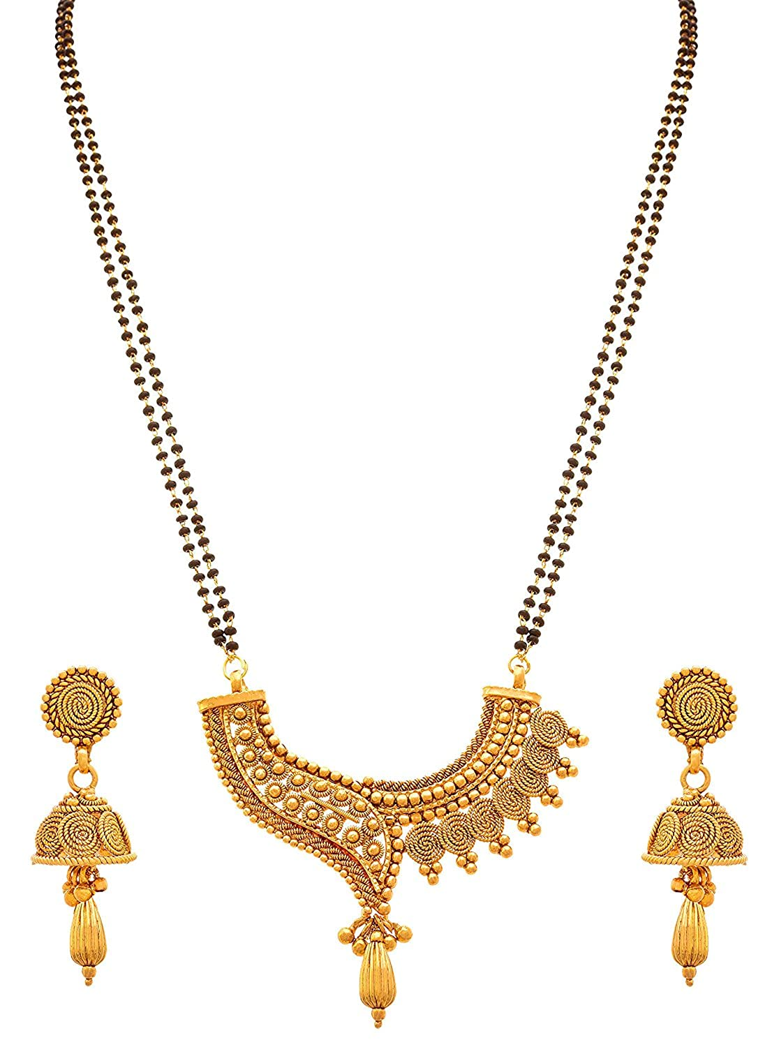 Gold Plated Austrian Diamond Mangalsutra With Earrings
