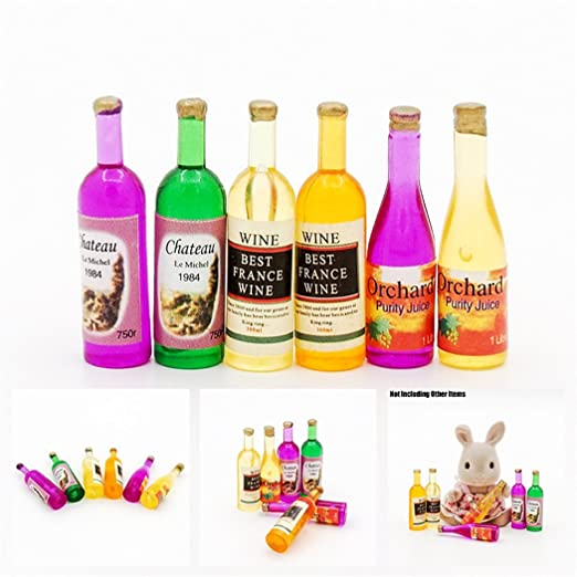 Odoria 1:12 Miniature 6PCS Wine Bottles Juice Dollhouse Kitchen Accessories by Odoria