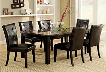 7 Pc. Boulder I Contemporary Style Faux Marble Table Top with Espresso Legs Dining Set