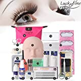 LuckyFine Pro 19pcs False Eyelashes Extension Practice Exercise Set, Professional Head Model Lip Makeup Eyelash Grafting Training Tool Kit (19pcs Set) (Tamaño: 19pcs Set)