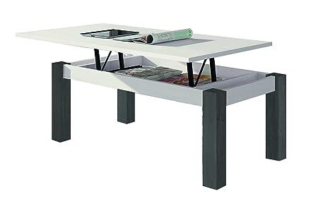 Más Relax MZ444 Mesa de Centro Elevable Rectangular, Madera Manufacturada, Blanco y Grafito, 100x50x42.2 cm