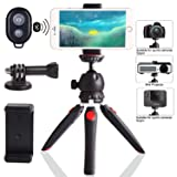 Regetek Camera Tripod with Wireless Remote, Phone GoPro Mount,Mini Tabletop Travel vlogging Tripod Stand for Phone Webcam,GoPro Action Cam/DSLR Canon