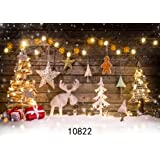 WOLADA 7x5ft Christmas Backdrop Thin Vinyl Wooden Photography Prop Newborn Photo Background 10822 (Color: 10822 7x5FT, Tamaño: 7X5FT)