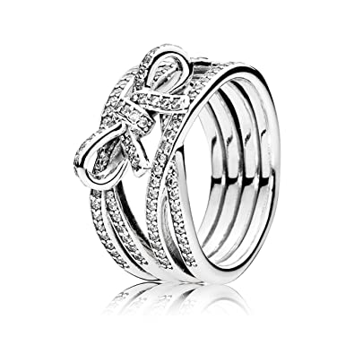Pandora Ring Delicate Heart 190995CZ-54 Silver and zircons