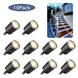 Recessed LED Deck Light Kits with Protecting Shell f32mm,10Pack SMY In Ground Outdoor LED Landscape Lighting IP67 Waterproof, 12V Low Voltage for Garden,Yard Steps,Stair,Patio,Floor,Kitchen Decoration (Color: Warm White, Tamaño: 10pcs/pack)