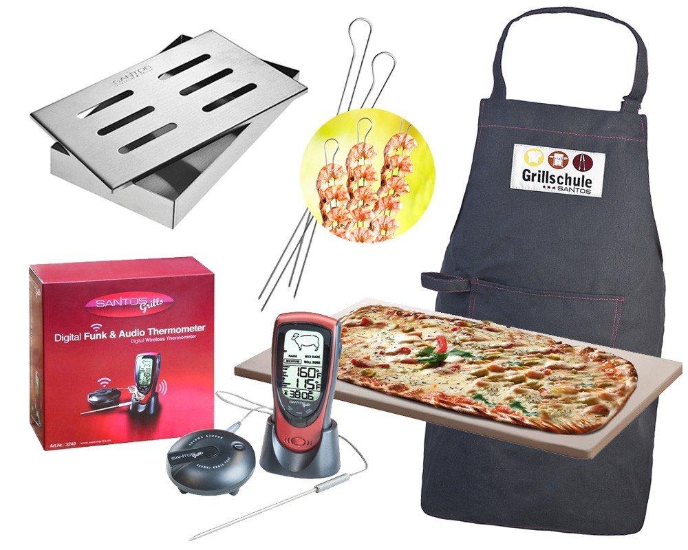BBQ-Thermometer-Pizzastein-Smokerbox-Spiesse-Grillschuerze günstig bestellen