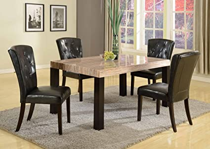 Roundhill Furniture Zanic 5-Piece Contemporary Faux Marble Dining Set, Ivory Espresso