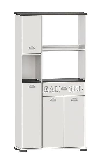 Suarez K101–1BT Asfeld Buffet 4ante/4Mensole con cassetto melamina bianco 90x 40x 180cm