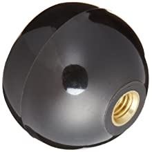 "DimcoGray Black Phenolic Ball Recessed Top Knob Female, Threaded Brass Insert: 3/8-16"" Thread x 1/2"" Depth, 1-7/8"" Diameter x 1-27/64"" Height x 3/4 Hub Dia"