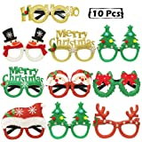JAYKIDS Christmas Glasses Party Favors Christmas Tree Hanging Ornaments Decorations Photo Booth Props Xmas Party Decorations Eyeglasses Frame for Christmas Holiday Party Supplies, 10pcs