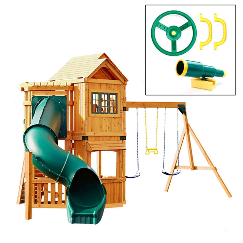 Swing set with slide playhouse swings kids outdoor new for Free playhouse plans with slide