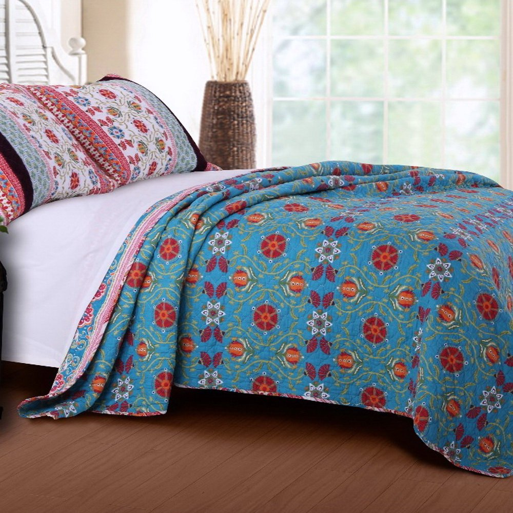 Retro Boho Quilt Set with Shams Print Geometric Floral Pattern Mandala Medallions Blue Red Yellow 100 Cotton Reversible 3 Piece Bedding Double Full Queen - Includes Bed Sheet Straps 2