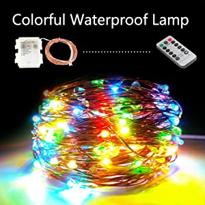 Outdoor LED String Lights Dimmable Battery Operated Waterproof Multi Colored Wireless Remote 33ft Copper Wire String for Indoor, Home, Wedding, Party, Christmas Decoration(Multi Colored) (Color: Multi-colored)