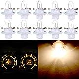 cciyu 10 Pack T5 B8.4D 5050 LED SMD Warm White For BMW Dodge Benz Dashboard Gauge Cluster LED Light Bulbs