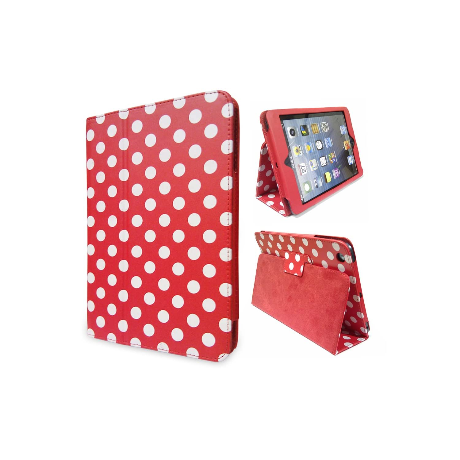 LOVE MY CASE / Apple iPad Mini / Stylish Red Polka Dot Case / Stand with Magnetic lock