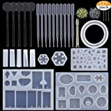 BAKHUK 127 Pieces Resin Casting Molds and Tools Set, Include 11 Pack Jewelry Casting Molds, 5 Stirrers, 10 Droppers, 1 Hand Twist Drill and 100 Screw Eye Pins. (Color: 127)