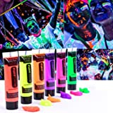 Sandistore Glow in Dark Body Paint Body&Face Glow Backlight Neon Fluorescent 3.3oz Set of 6 Tubes