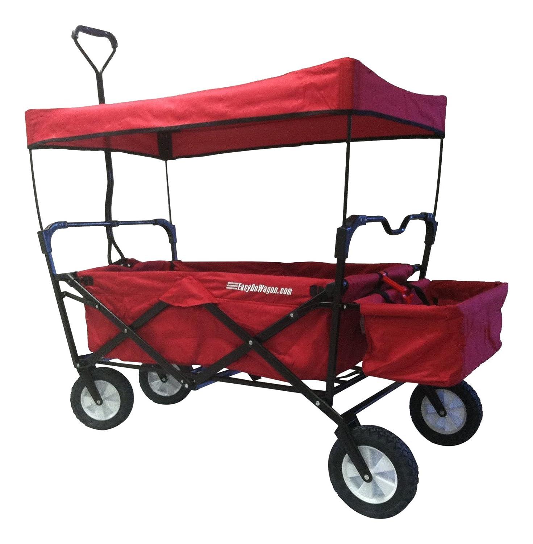 kids red wagon all terrain storage folding utility pull along canopy travel park ebay. Black Bedroom Furniture Sets. Home Design Ideas