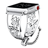 Apple Watch Band 42mm Women, VIGOSS Luxury Apple Watch Bands Metal Jewelry Cuff Edition Floral Hollow Hoop Bracelet Stainless Steel Bangle Strap for iWatch Series 3/2/1,Nike+ (Butterfly Silver, 42mm)