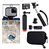 GoPro Hero7 White Bundle with Float Handle, Handheld Monopod, Camera Case, Memory Card Reader, and 8GB MicroSDHC Card