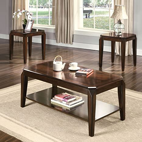 Docila 3-Piece Walnut Coffee Tables and End Table Set