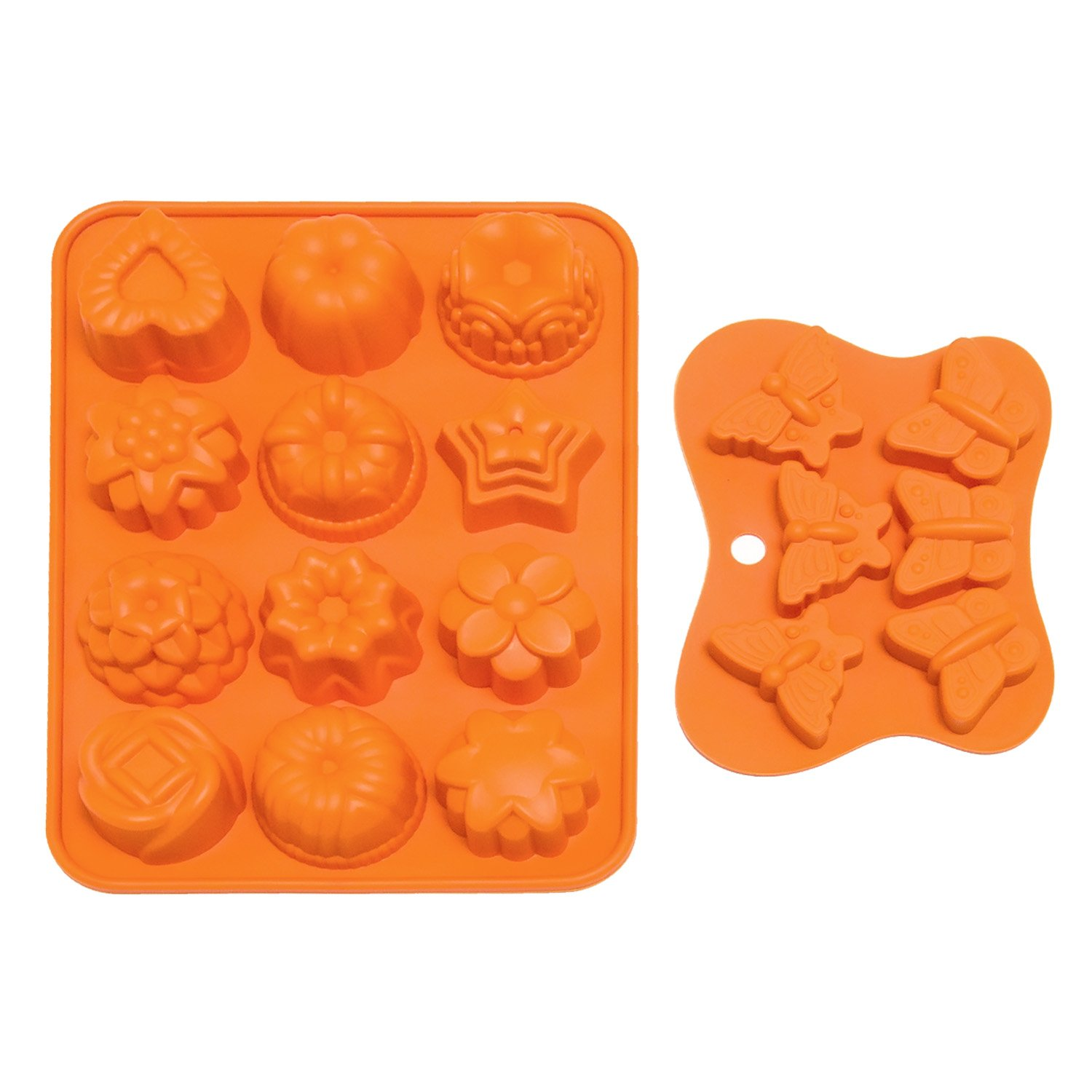 Fondant Molds, Boieo Non-stick Flower & Butterfly Silicone Baking Mold for Cake, Candy, Chocolate, Jelly, Fondant and Soap Making (Set of 2)