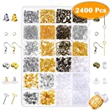 Paxcoo 2400Pcs Earring Making Supplies Kit with 24 Style Earring Hooks, Earring Backs, Earrings Posts and Earring Making Findings for Adult (Tamaño: 2400 pack)