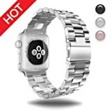 Watch Band Silver 38MM Stainless Steel Strap Wristband for Apple Watch Series 3 Series 2 Series 1 All Version Comfortable Durable Folding Metal Clasp Classic Buckle Wrist Watch Strap (Color: Silver 38mm, Tamaño: 38mm)