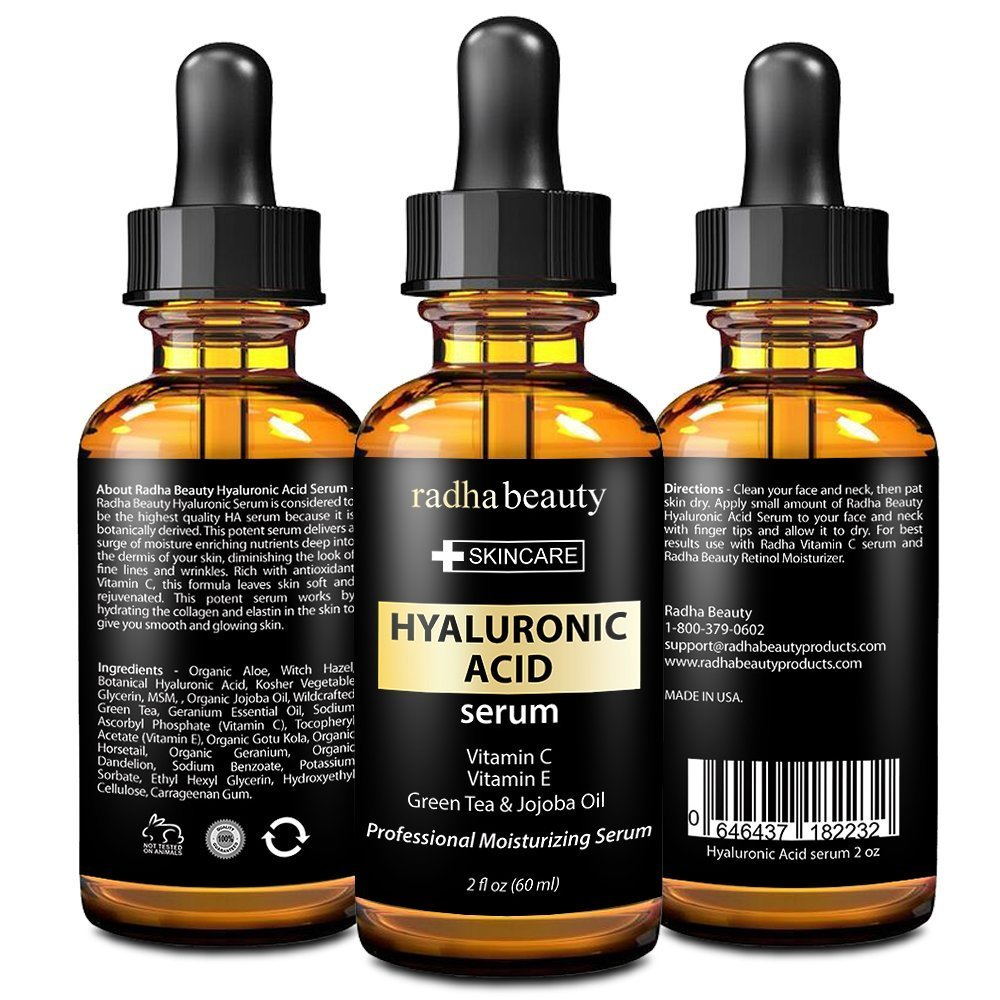 Radha Beauty Hyaluronic Acid Serum For Face & Skin - Best Moisturizing and Anti aging Serum With Hyaluronic Acid, Vitamin C, Vitamin E & Green Tea