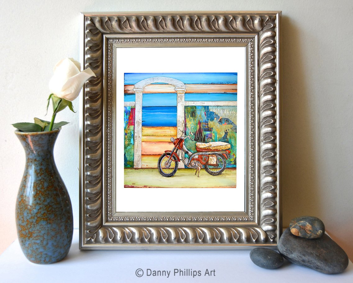 Pit Stop - Danny Phillips art print, UNFRAMED, motorcycle, beach, carribean Inspired funky retro vintage mixed media art wall & home decor poster, ALL SIZES	 2